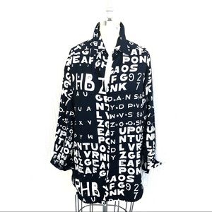 Black and White Graphic Sequined Button Up Shirt!!